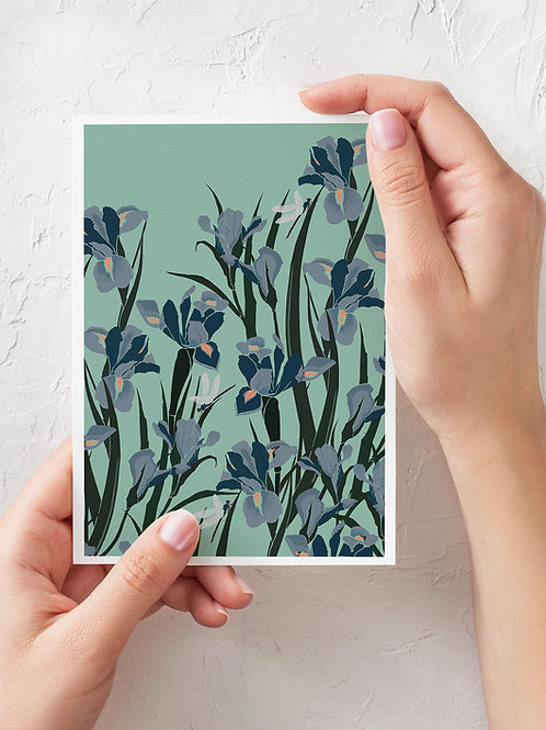 Card folded A6- Lilies