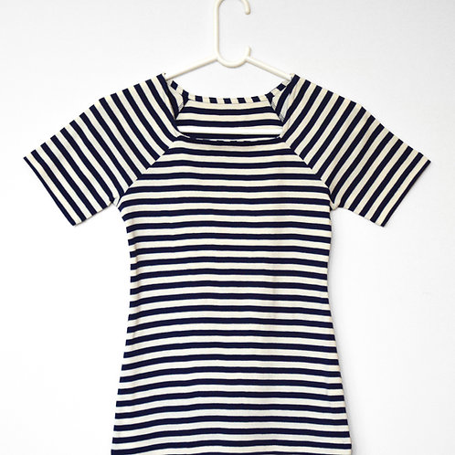 Anna Sailor T-shirt- navy/off white stripe