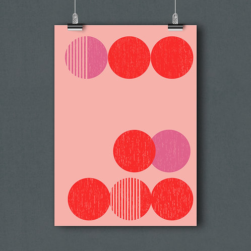 Poster A4- Row red/pink