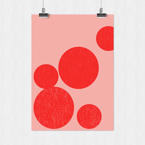 Poster A4- Bubble 2 red/pink