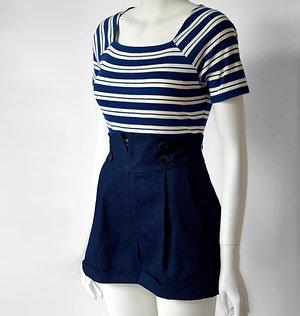 Anna Sailor Shorts- indigo blue denim