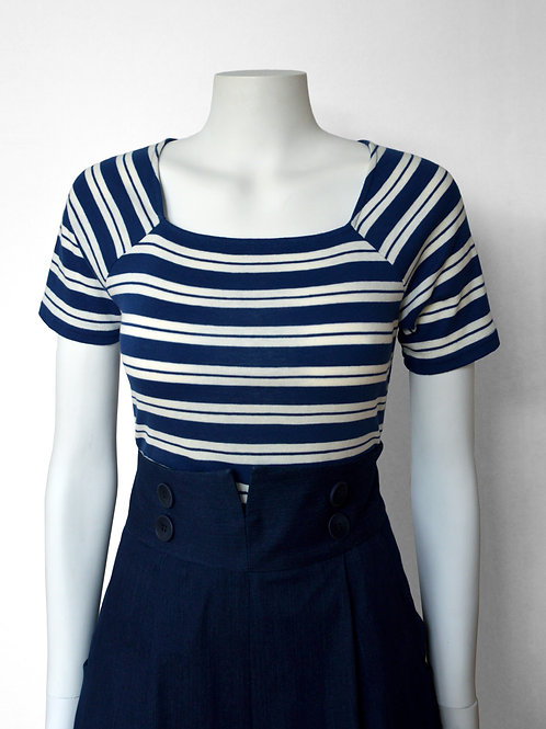 Anna Sailor T-shirt- double navy stripe