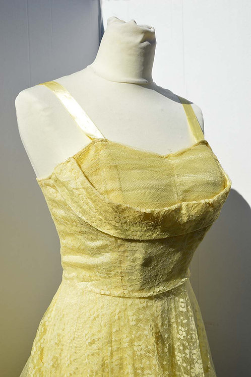 Ljusgul festklänning 50tal