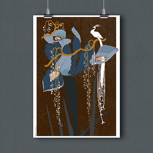 Poster A3- Lily & peacock