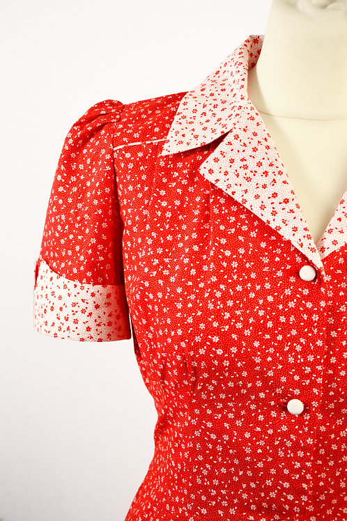 Alma-Maria Dress- red flower print