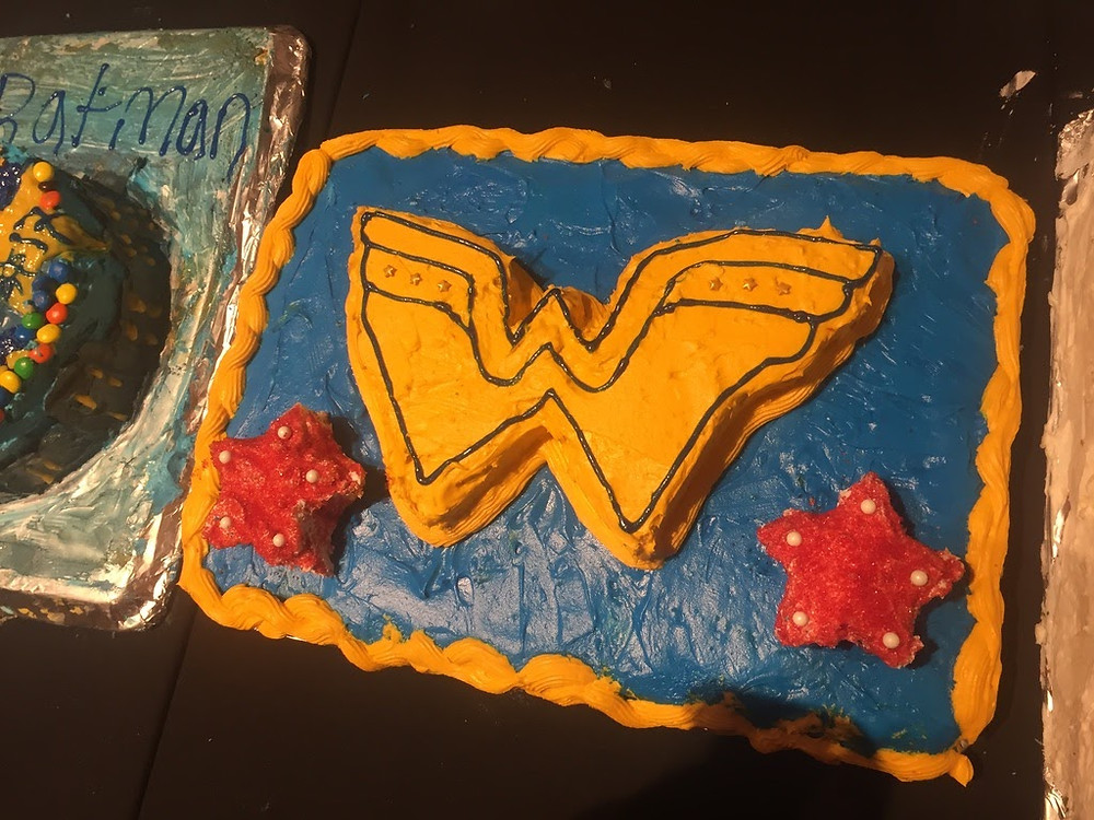 The summer school also held a cake decorating competition with students and proctors as contestants, and the theme this particular year was superheroes. This is a Wonder Woman-themed cake that Amy's team made!