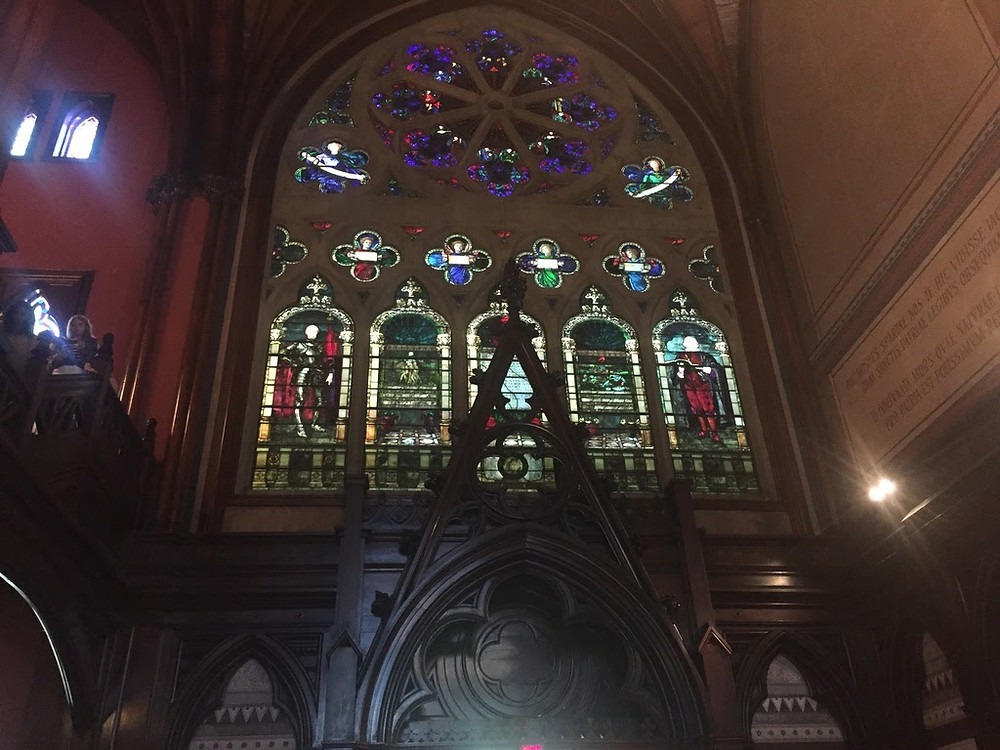 Stained glass inside Memorial Hall, which houses Annenberg, the dining hall where summer school students eat.
