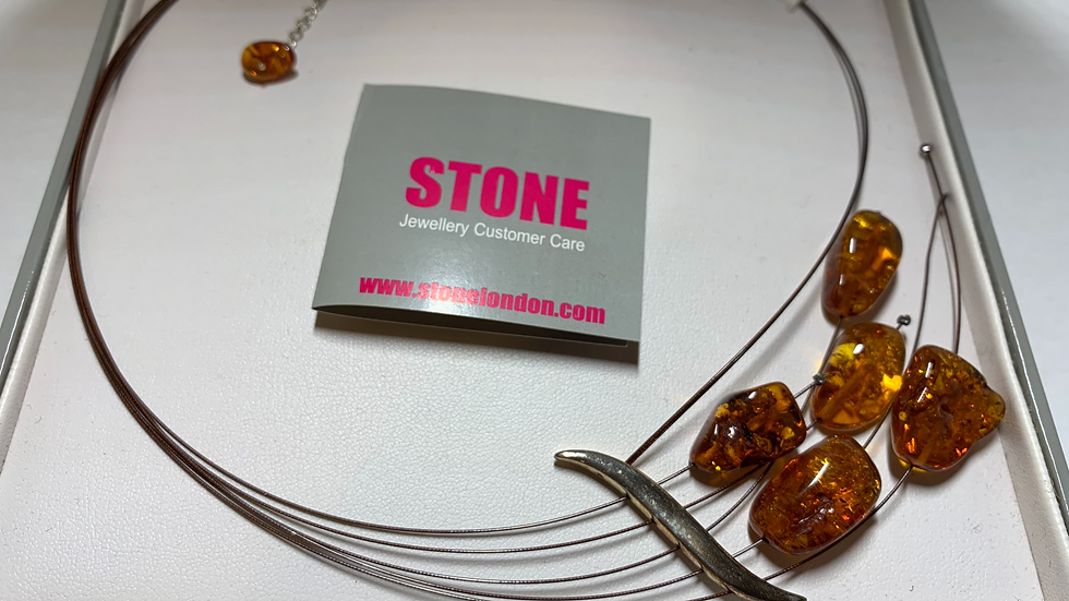 Hand Crafted Stone Amber Jewelry Necklace