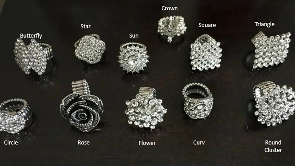 Diamante Sparkly Stretch Rings