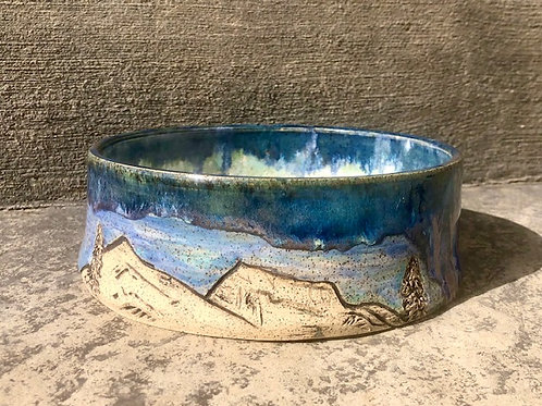 Rustic Carved Mountain Dog Bowl