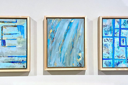 Blue Abstract Trio