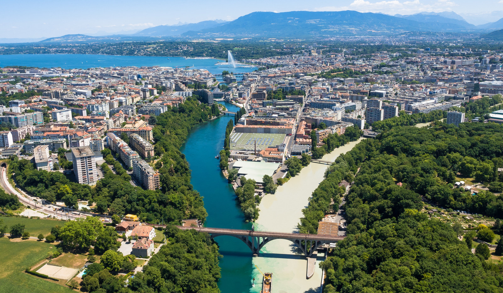 Canva - Aerial view of  Geneva city in S