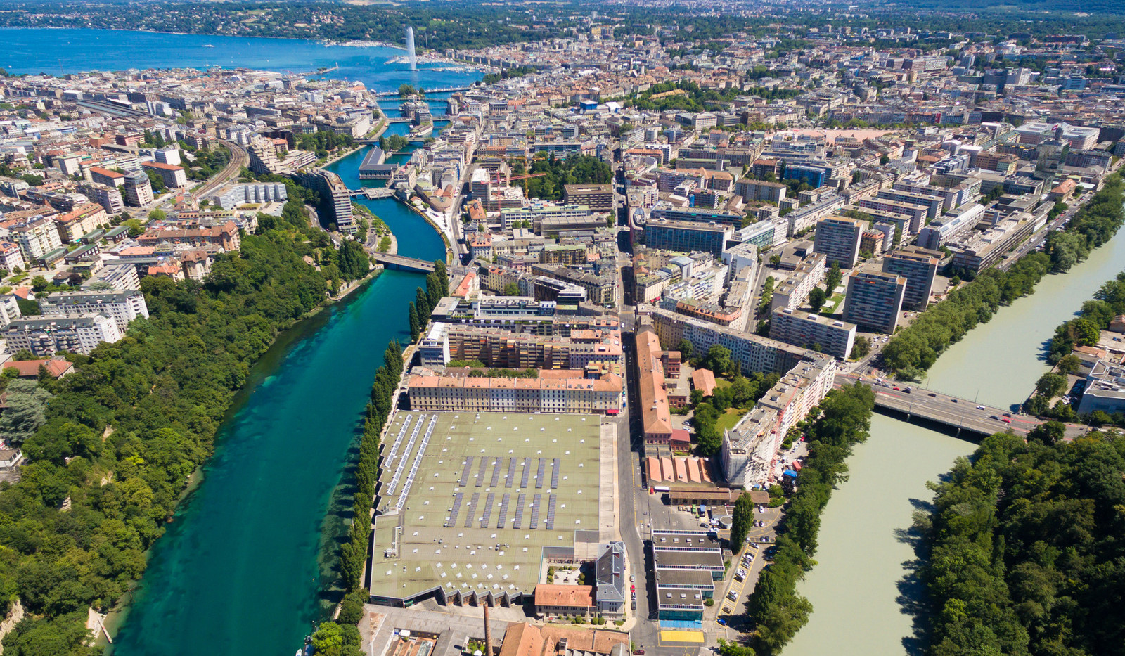 Canva - Aerial View of Arve an Rhone Riv