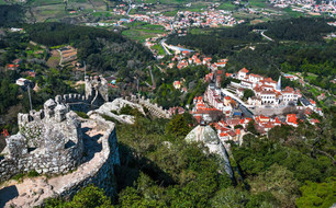 Aerial view of Sintra city.