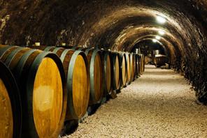 Old wine barrels in a wine cellar.