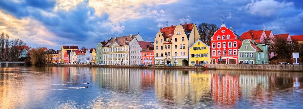 Canva - Colorful gothic houses reflectin