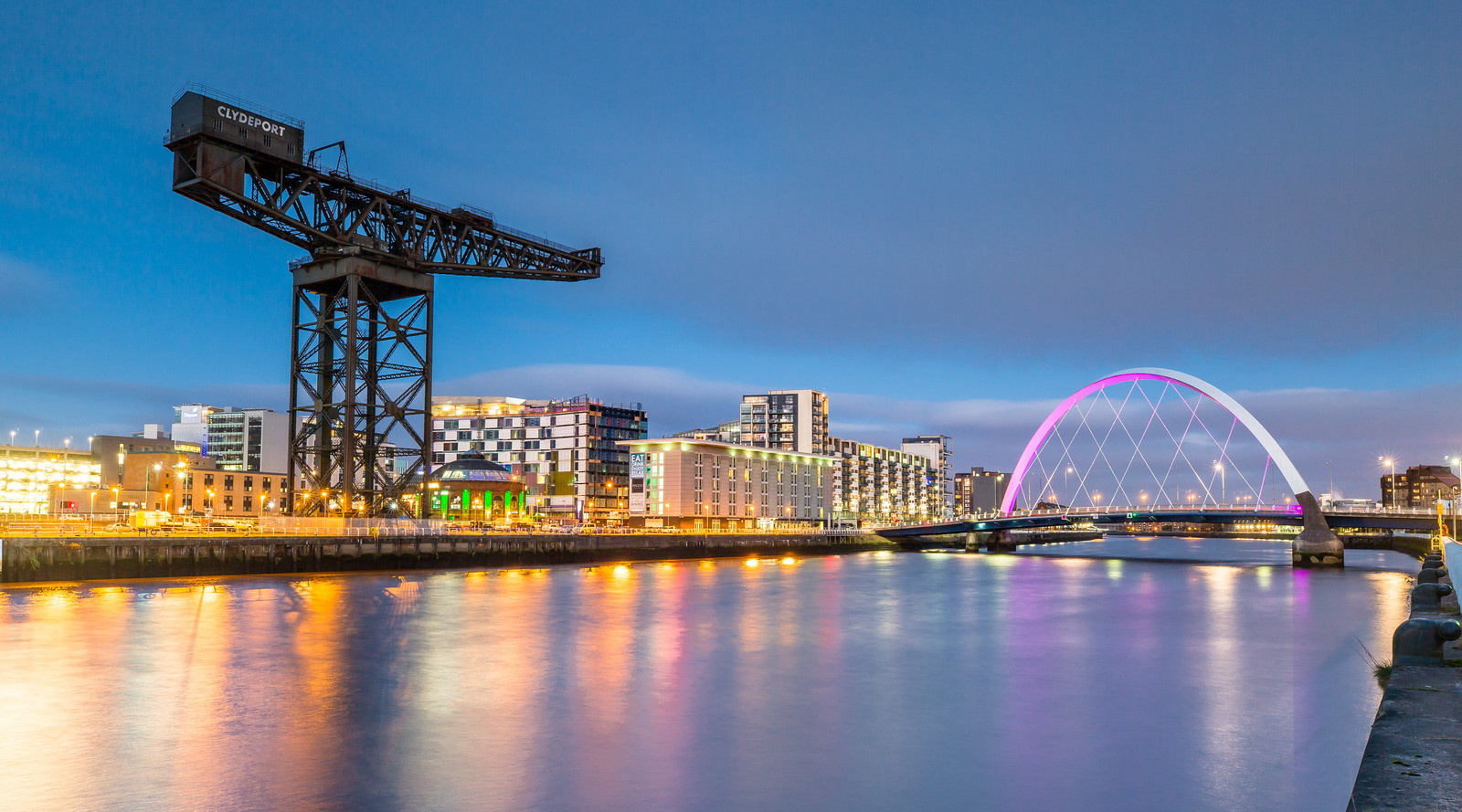 Canva - Clyde Arc and Glasgow Skyline at