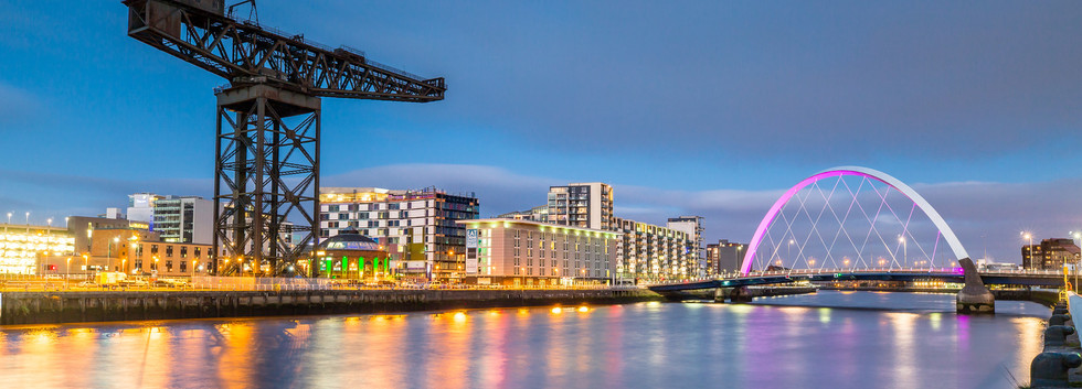 Canva - Clyde Arc and Glasgow Skyline at