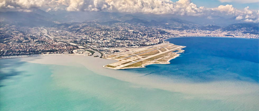 Canva - Nice airport from above, France.