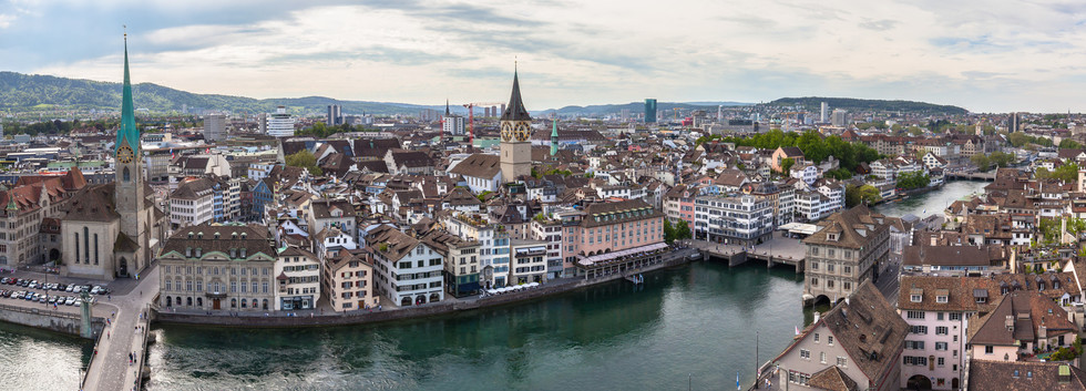 Canva - Panorama view of Zurich skyline.