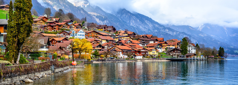 Canva - Old town and Alps mountains on B