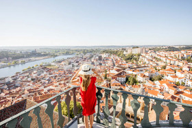 Woman Traveling in Coimbra City.