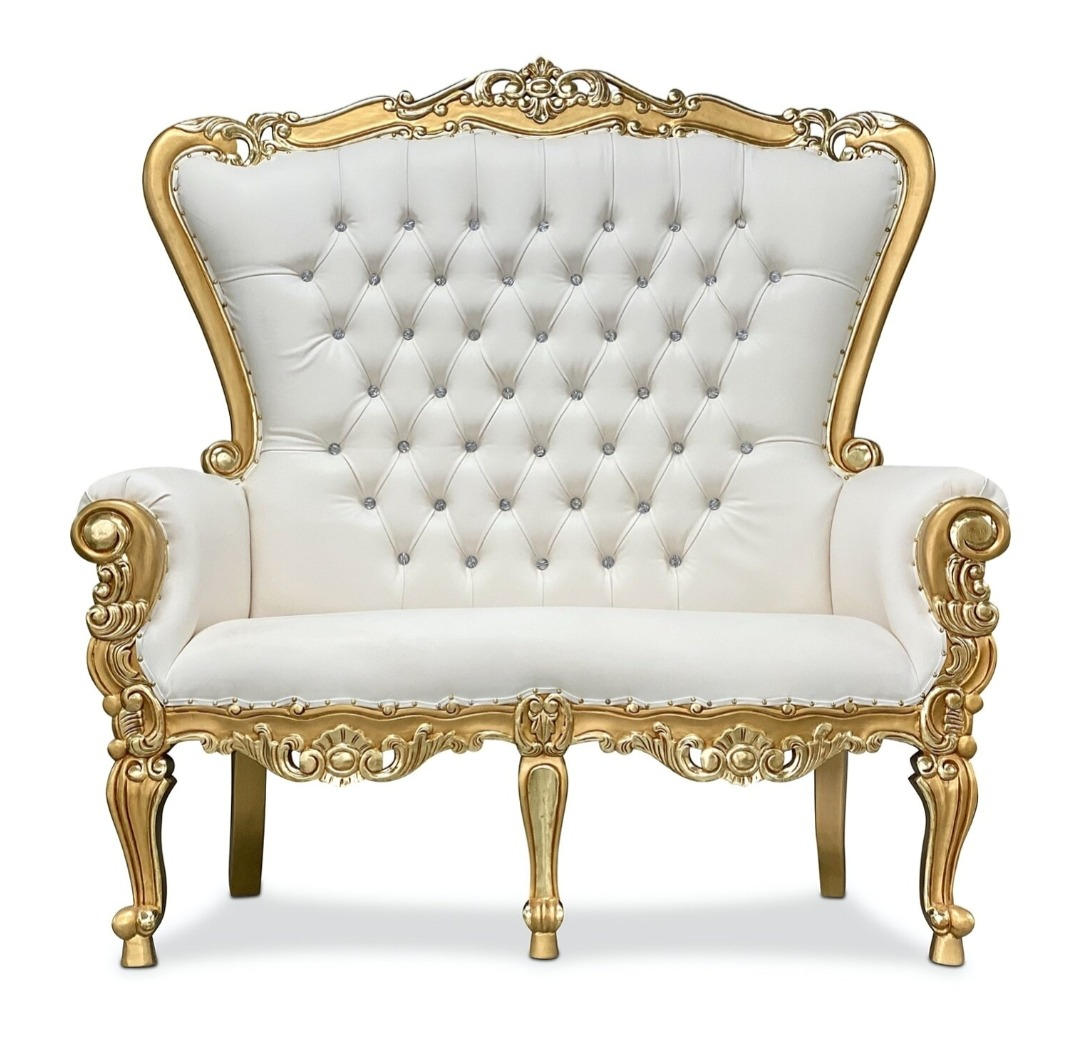 White Couples Thrown Chair With Gold Accent
