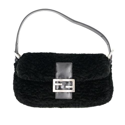 Fendi Shearling Wool Baguette Bag