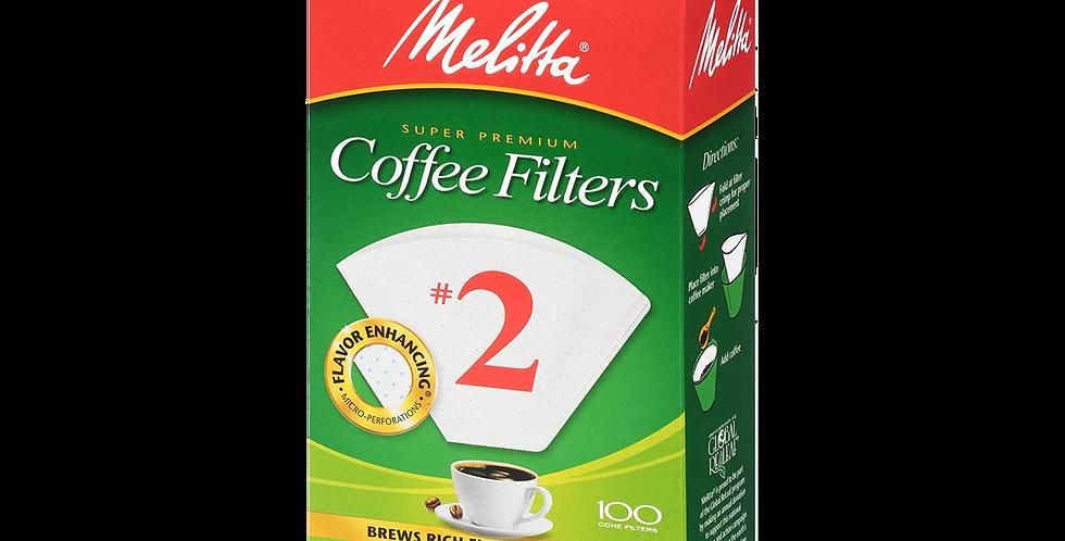 Melitta #2 Cone Filter Paper White - 100 Count