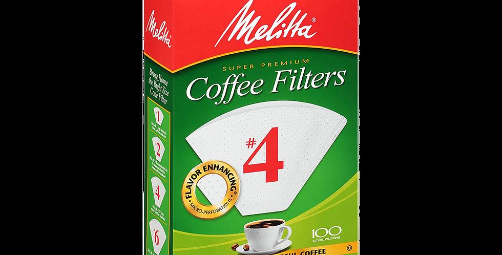 Melitta #4 Cone Filter Paper White - 100 Count