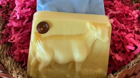Whole goat shaped goat milk soap
