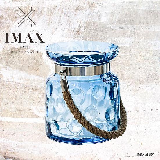 藍色雀躍手工玻璃花瓶