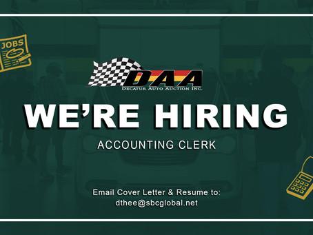 We're Hiring -- Accounting Clerk