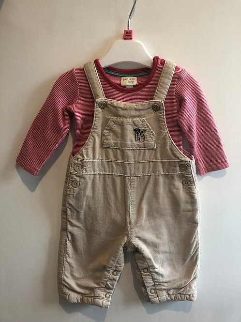 John Lewis Dungaree Outfit 0-3 months