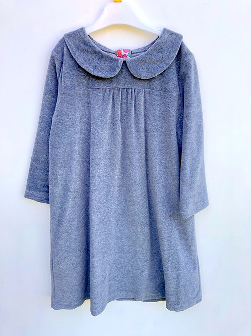 Mini Boden Grey Velour Dress 7 years