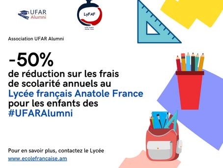 Réduction sur les frais de scolarité annuels au Lycée Français Anatole France