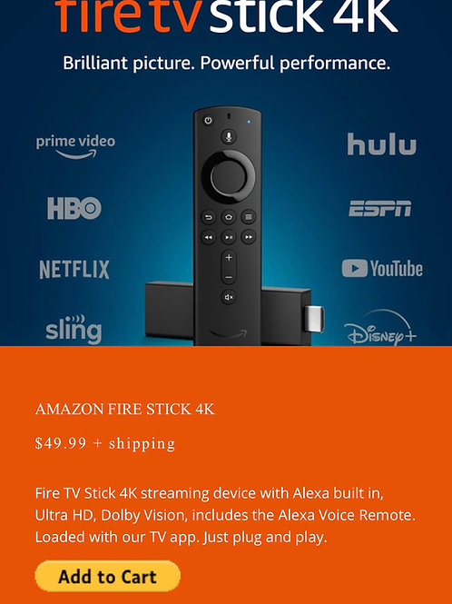 4k Fire Stick pre loaded with spade tv
