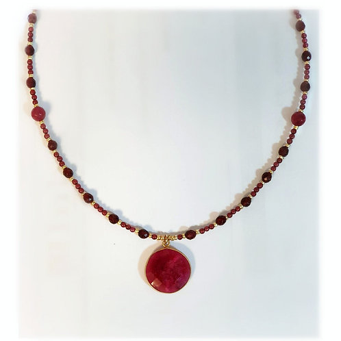 Deep Red Garnet Ruby Gold Necklace
