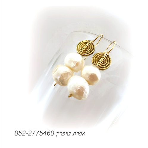 Natural Big White Pearl Earrings Ancient Style