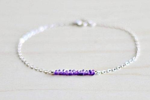 Amethyst Silver Gemstone Bracelet