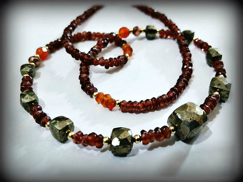 Garnet Pyrite Gold Gemstone Necklace