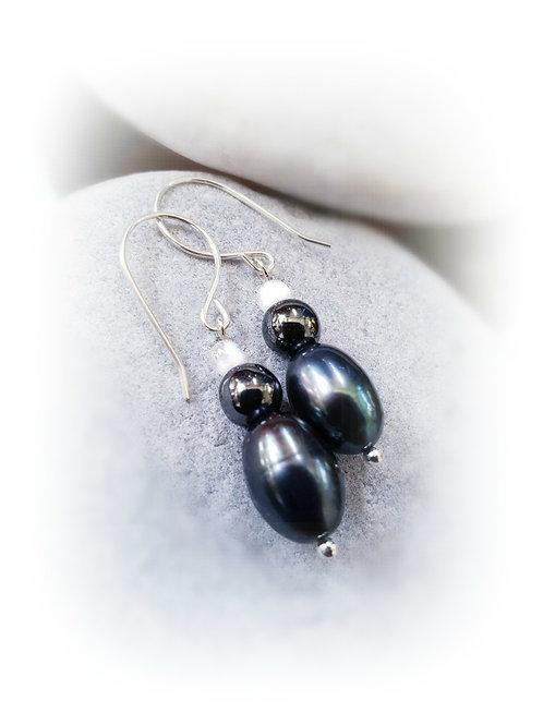 Black Gray Moonstone Pearl 925 Silver Dangling Earrings