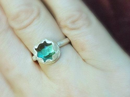Mistic Green Chrome Quartz 925 Siver Ancient Historical Style Ring