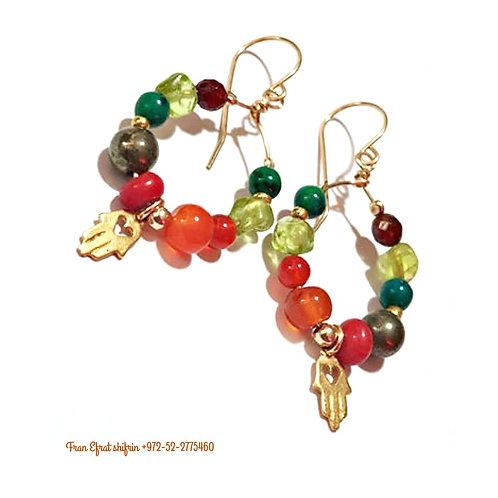 Gold Hamsa Earrings and Natural Gemstones Unique Pair
