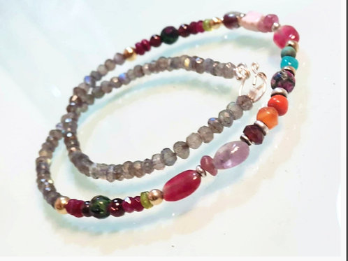 Colorful Gemstone Necklace Rainbow Gentle Jewelry