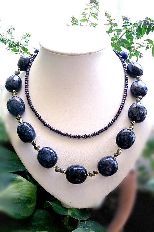 Elegant Blue-Black Double Strand Gemstone Necklace
