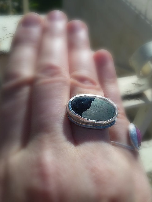 Black Gold Organic Style Silver Ring