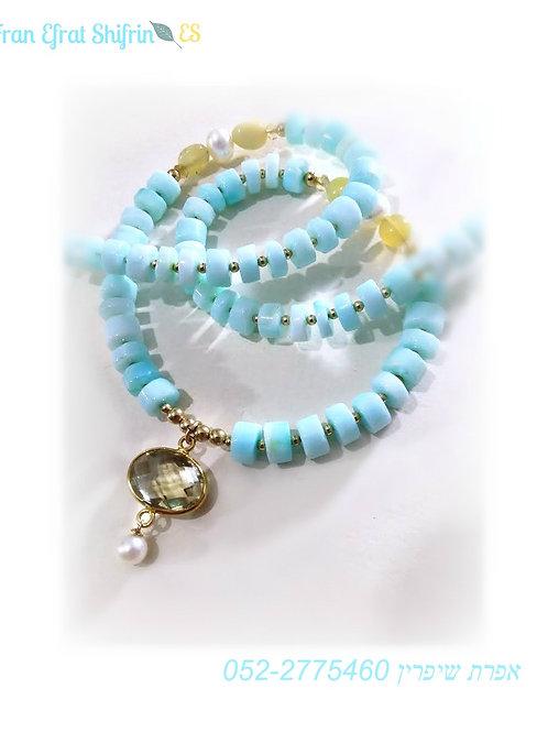 Light Blue Opal Gold Amber Topaz Necklace