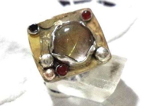 Statement Silver Gold Rutille Quartz Sculptured Ring