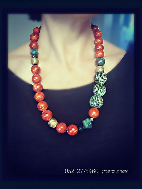 Red Coral Green Gems Long Unique Necklace
